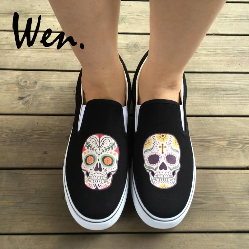 Wen Outdoors Sport Sort Hvide Farver Slip On Sko Original Design Mexican Colorful Flowers Tattoo Skulls Canvas Sneakers