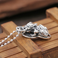 S925 Sterling Silver Jewelry Pendant Necklace Silver retro lucky money brave men and women silver pendant