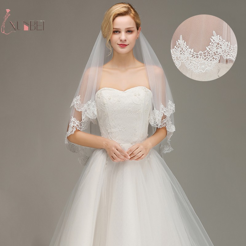 Voile Marriage Cheap Short Wedding Veil Two Layer With Comb Lace Edge Bridal Veil Applique Elbow Length Wedding Accessories New