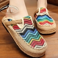 Vintage Embroidery Women Shoes Chinese Canvas slippers Linen Thailand Cotton Old Beijing Embroidered Sandals Slippers 35-40