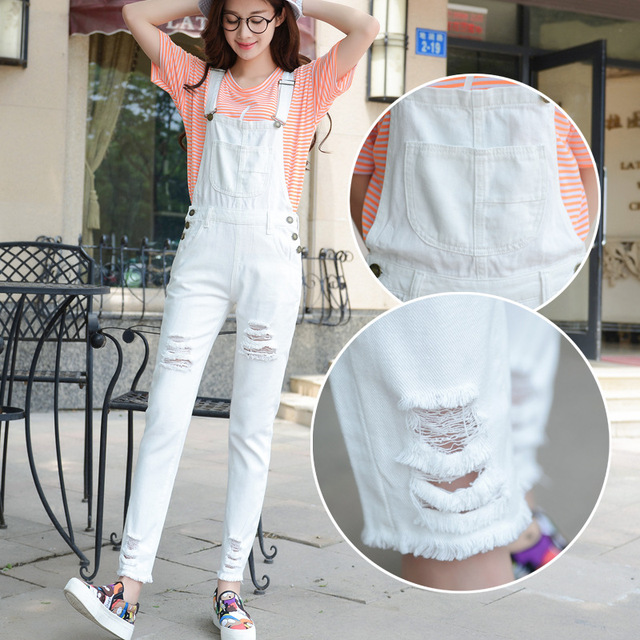 698edad90110 Nice Summer Pop Fashion Clothes Women Overalls Jumpsuits Solid Hole Jeans  Suspender Trousers Loose Slim Thin Girl Denim Jumpsuit