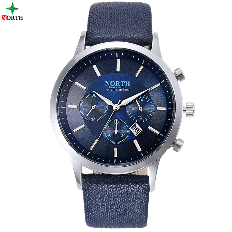 North Luxury Men Klockor Vattentät Äkta Läder Mode Casual Armbandsur Man Business Sport Klocka Classic Blue Silver 6009