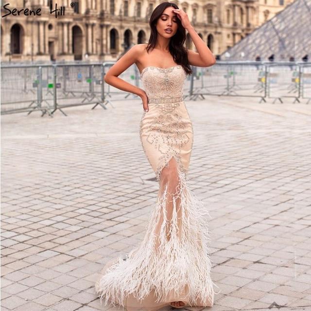 זהב סטרפלס סקסי בת ים נוצות שמלת ערב יהלומים ואגלי טול אופנה שמלות ערב 2020 Serene היל LA6588