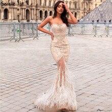 Altın straplez seksi Mermaid tüyleri abiye elmas boncuk tül moda abiye 2020 Serene tepe LA6588