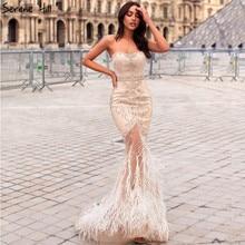 Vestido de noche dorado sin tirantes con plumas de sirena, tul, a la moda, con cuentas de diamantes, 2020 Serene Hill LA6588