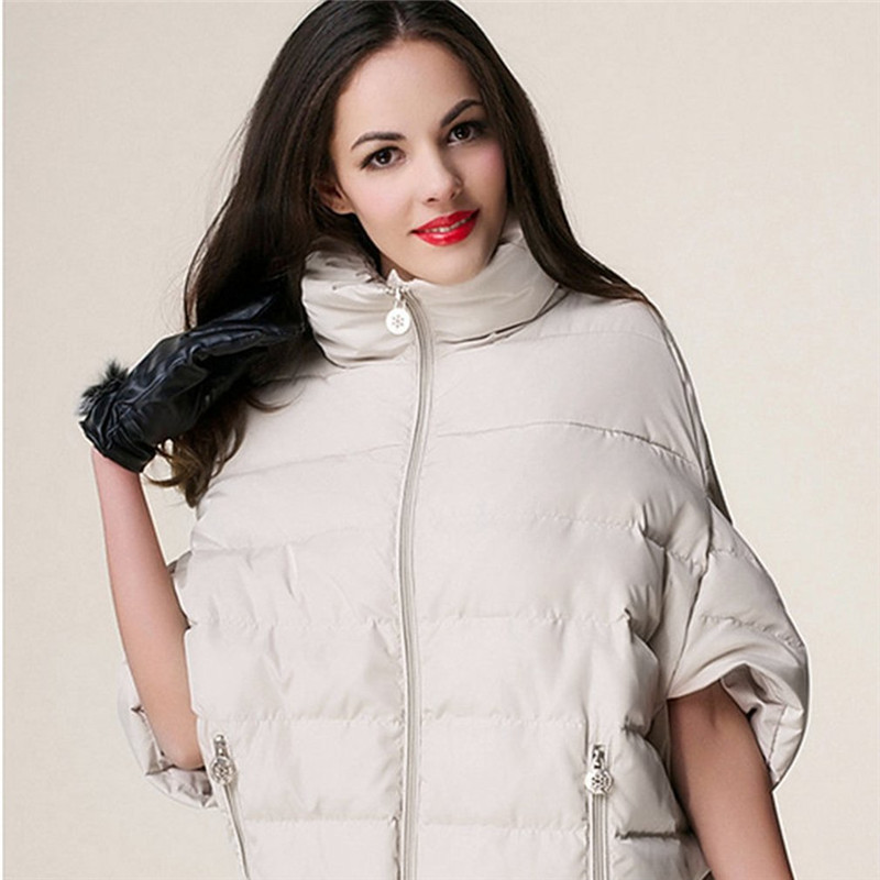 2017 Fashion Women Winter Bat-Wing Sleeve Down Shortcoats velvet-Hooded Cape Loose Outerwear Casual Solid Female Feather Jacket velvet christmas print hooded cape coat