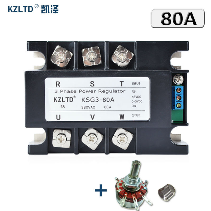 KZLTD Three Phase Full Isolation Solid State Voltage Regulator 80A 380V AC Output Power Regulator Module KSG3-80A