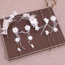 Korean Fairy White Flower Weave Long Feather Tassels Tiaras Earrings Set Wedding Hair Accessories Handmade Bride Jewelry Sets VL(China)