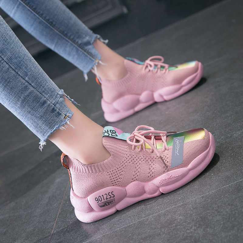 AGUTZM New Sneaker Women Shoes 2019 Spring Flying and Weaving Breathable Reflective Thick Bottom Leisure Vulcanize Shoes A231(China)
