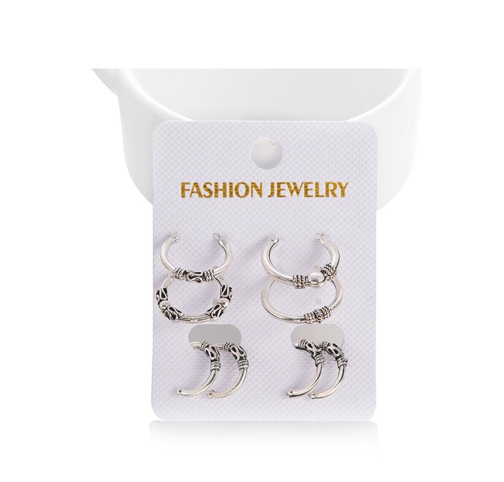 Round Hoop Earrings Set Charm Pendant Earring Minimalist Round Hoop Earrings