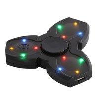 Luminous Hand Spinner Bluetooth Speaker Built In Fingertip Gyroscope Speakers LED Light Tri Spinner Fidget Anti