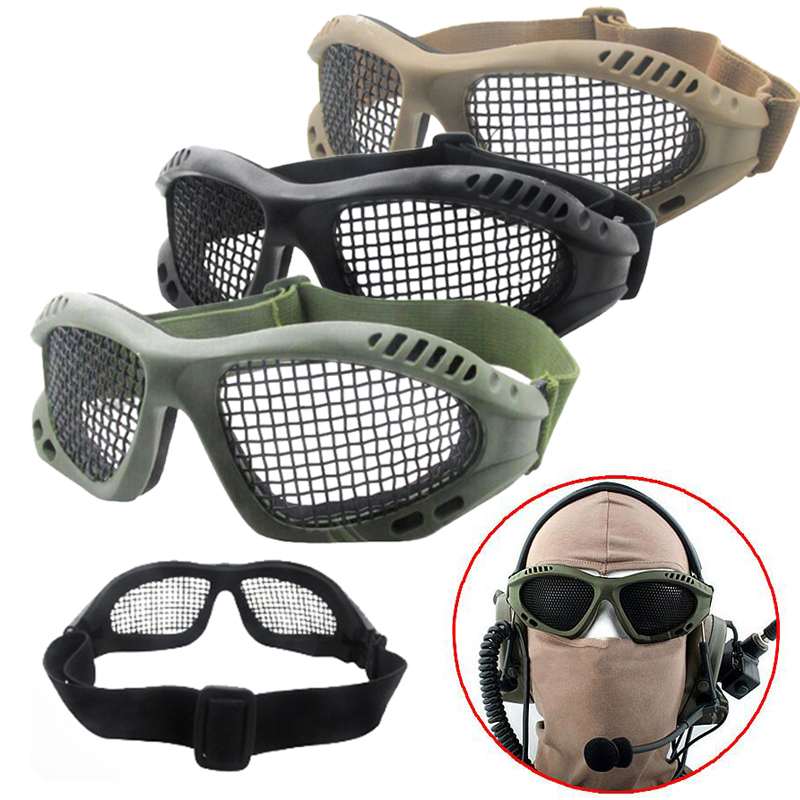 High Quality Hunting Tactical Paintball Goggles Eyewear Steel Wire Mesh Airsoft Net Glasses Shock Resistance Eye Game Protector