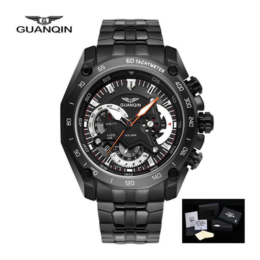 GUANQIN Black Watches Men 2018 Chronograph Luxury Brand Mens Wristwatches  Quartz-watch Stainless Steel Watch relogio masculino watches men luxury brand chronograph quartz watch stainless steel mens wristwatches relogio masculino clock male hodinky