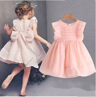 Free Shipping 2015 New Arrival Summer Girls Beautiful Princess Baby Girls Party Mesh Big Butterfly Dress