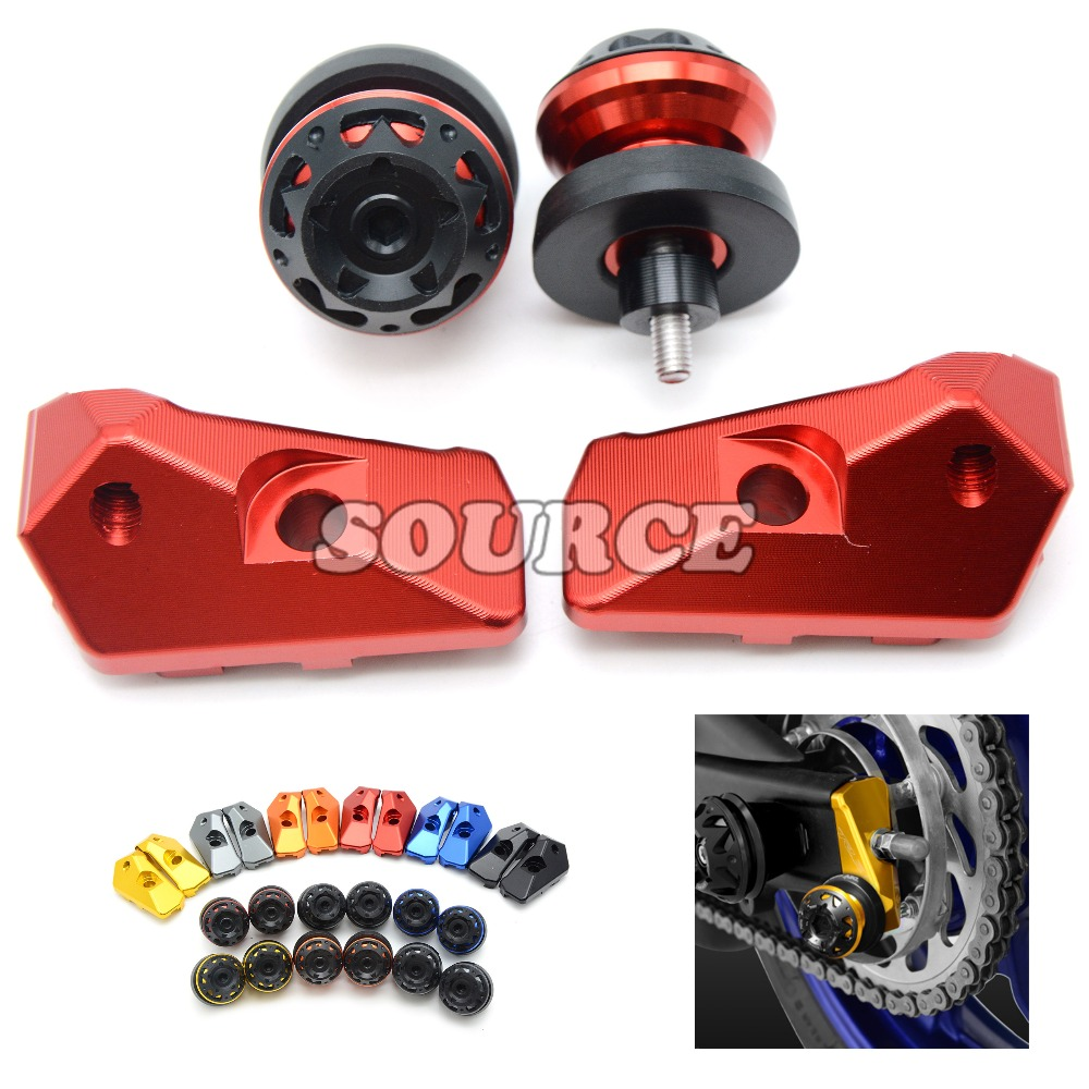 motorcycle accessories CNC rear axle spindle chain adjuster blocks and swingarm sliders for YAMAHA YZF-R3 YZFR3 YZF R3 2015 2016