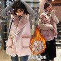 Chalecos Mujer Ограниченным Chalecos Mujer Женщины Жилет 2016 Новых Осенью Корейский Кожа Свободные Теплый Кардиган Пальто Лацкан С Кролика Волос