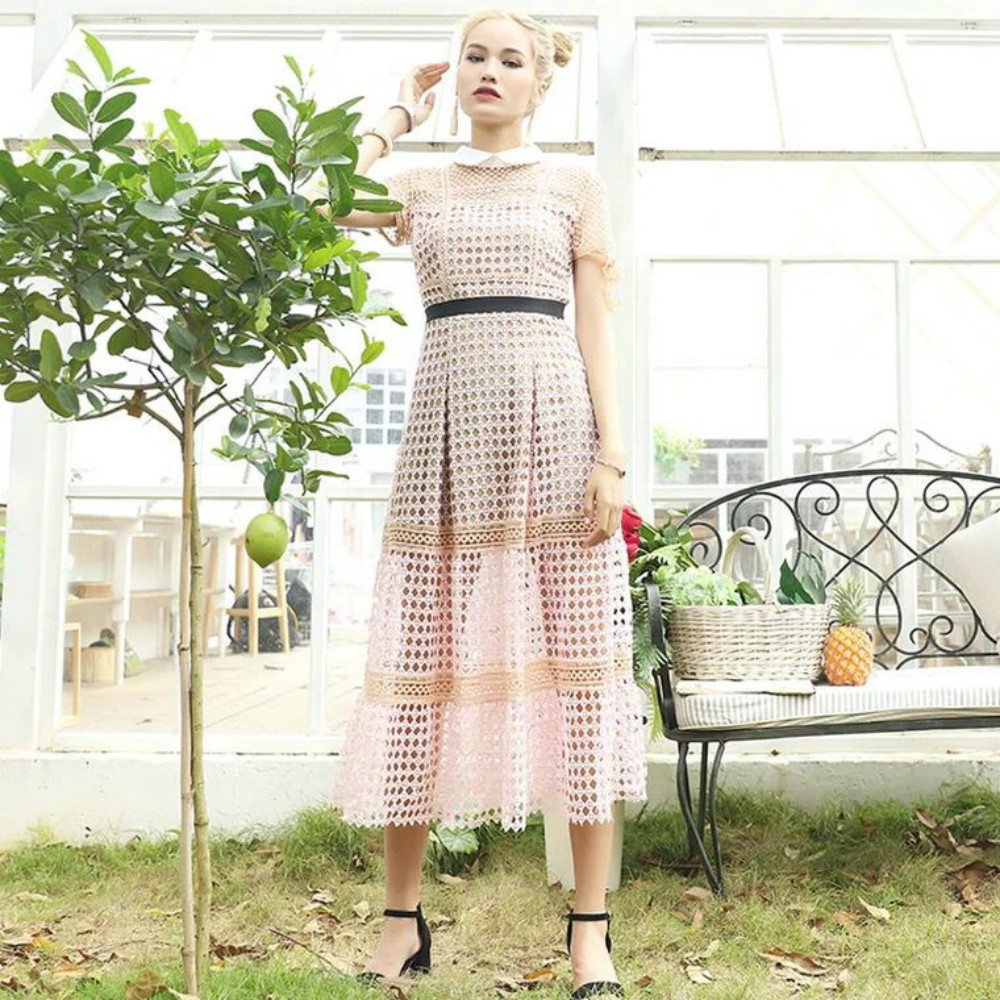 Self Portrait Dress Women's Designer Lace Sexy Hollow Out Patchwork Maxi Long Female Chic Dresses Peter Pan Collar Pink New