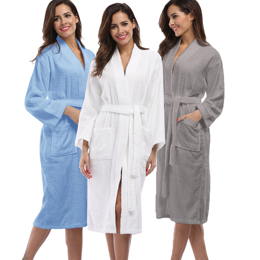 29b6352601 Detail Feedback Questions about Winter Thick Warm Women Robes 2018 Solid Cotton  Sleepwear Long Robe Woman Hotel Spa Plush Long White Bathrobe Nightgown ...