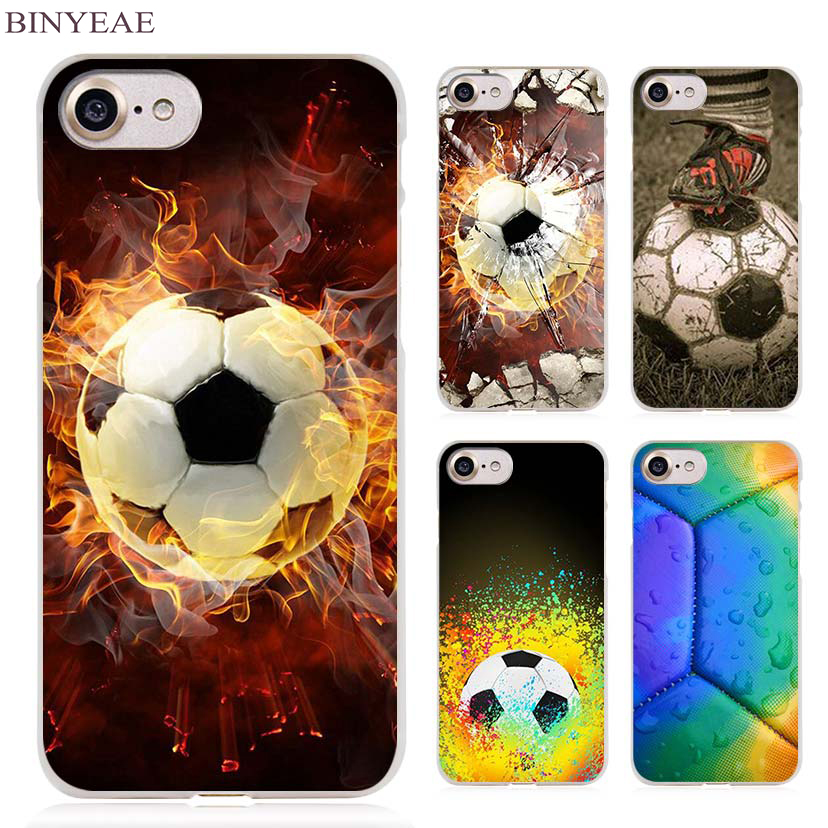 BINYEAE Fire Football Soccer Ball Clear Cell Phone Case Cover for Apple iPhone 4 4s 5 5s SE 5c 6 6s 7 7s Plus