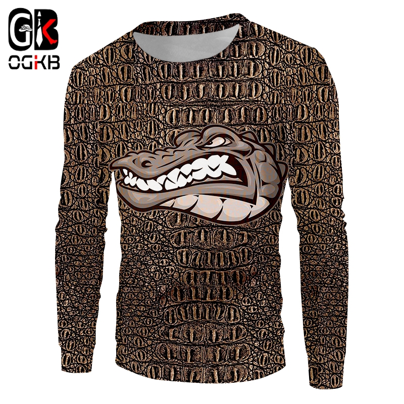 OGKB Lady Sweatshirt Loose Autumn Woman Animal Pullover 3D Printed Crocodile Harajuku Plus Size 6XL Habiliment Wholesale thumbnail