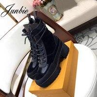 JUNBIE новая обувь из натуральной кожи женские ботильоны на шнуровке круглый носок толстый каблук модные зимние сапоги для женщин обувь Для же