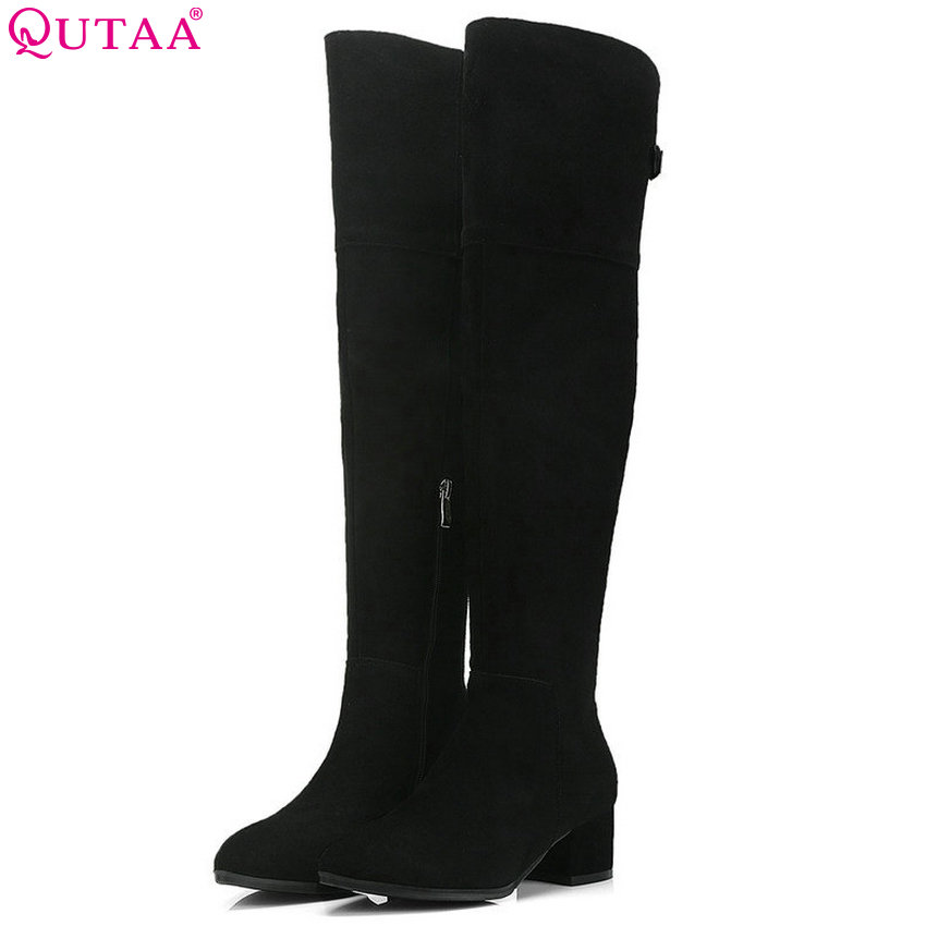 QUTAA 2019 Women Over The Knee High Boots Cow Suede All Match Platform Square High Heel Winter Boots Women Shoes Big Size 34-39QUTAA 2019 Women Over The Knee High Boots Cow Suede All Match Platform Square High Heel Winter Boots Women Shoes Big Size 34-39