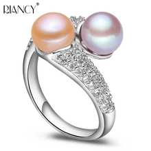 Fashion Pearl Jewelry Natural Freshwater Pearl Ring Wedding Rings 925 Sterling Silver Adjustable Rings For Women Gift цена