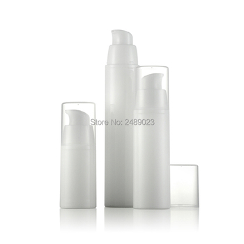 15ml 30ml 50ml White Empty Plastic Shampoo Cosmetic Sample Containers Emulsion Lotion Airless Pump Bottles 100pcs/lot Wholesale