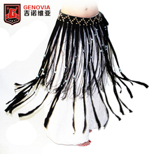 New Belly Dance Tribal Coin Belt Clothes Gypsy Costume Accessories Long Fringe Wrap Coins Skirts Hip Scarf