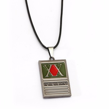 Cartoon Jewelry Hunter Rectangle Pendant Necklace Geometric Charm Coker Necklace With Leather Chain Accessories image