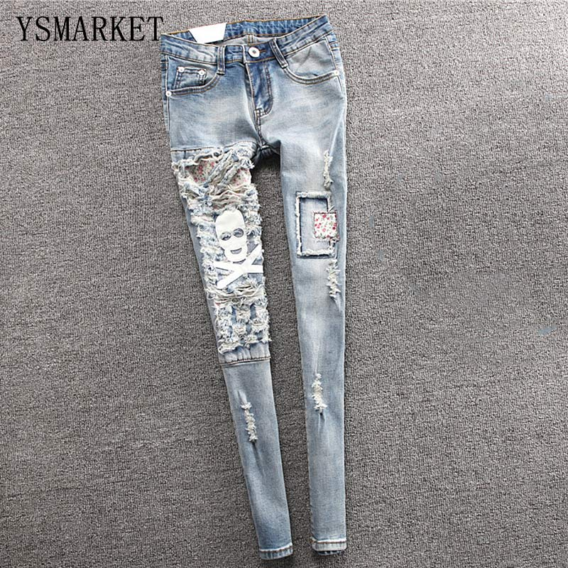 ФОТО Trousers White Skull Patchwork Women Jeans Femme Slim Denim Pants Jean Mujer Mid Waist Pencil Long Pant Jeans With Holes E8257