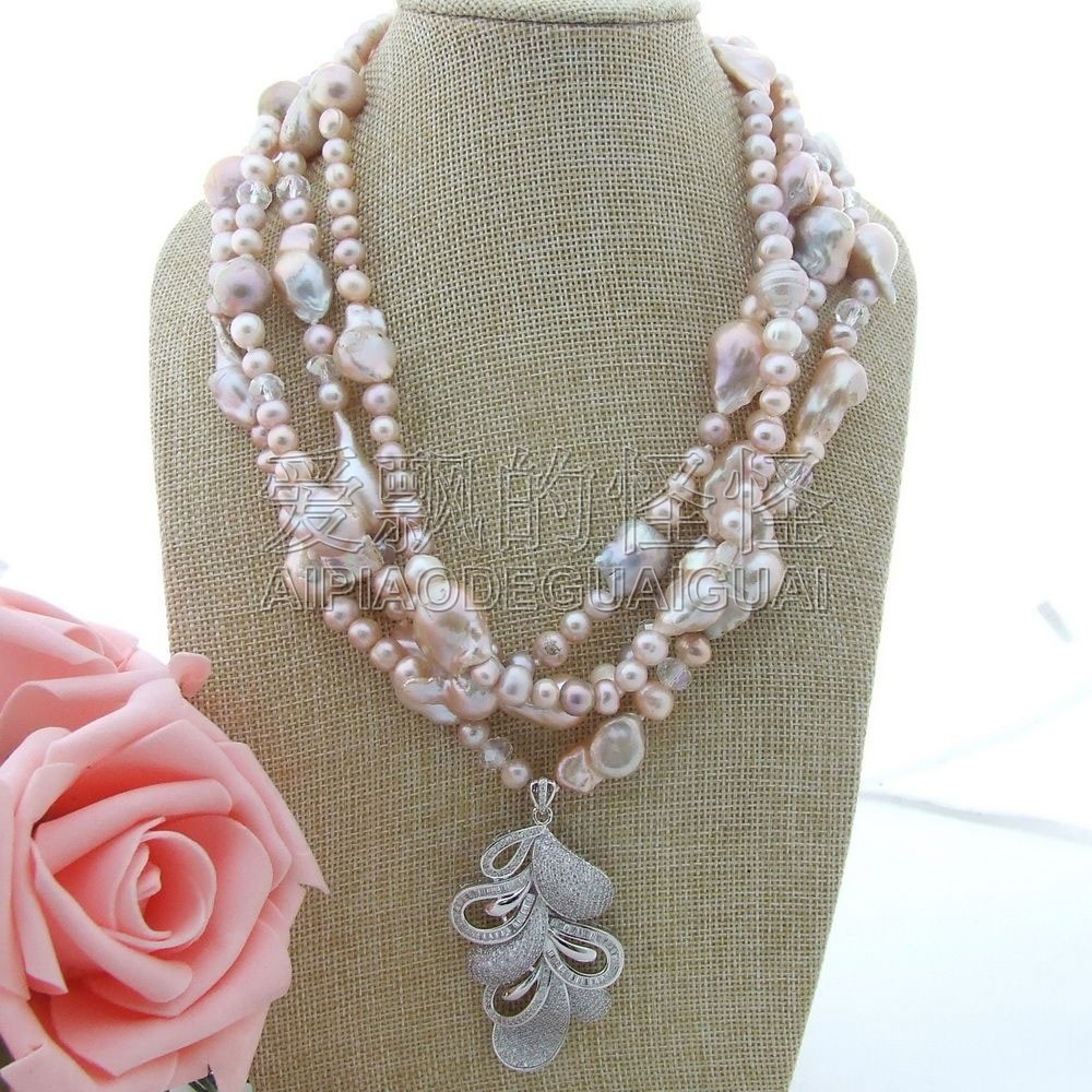 "N112709 20"" 4Strands Keshi Pearl Crystal Necklace CZ Pendant"