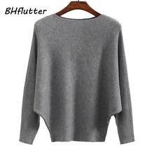 BHflutter Sweater Women Slash Neck Knitted Winter Sweaters T