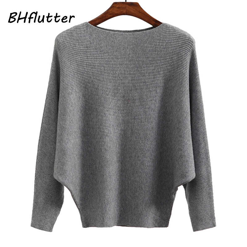BHflutter Sweater Women Slash Neck Knitted Winter Sweaters Tops Female Batwing Cashmere Casual Pullovers Jumper Pull Femme 2018
