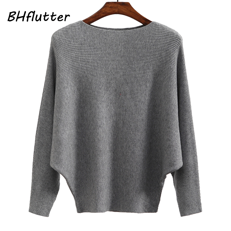 BHflutter suéter mujer Slash cuello tejido invierno suéteres Tops mujer Batwing Cashmere Casual Pullovers Jumper Pull Femme 2018
