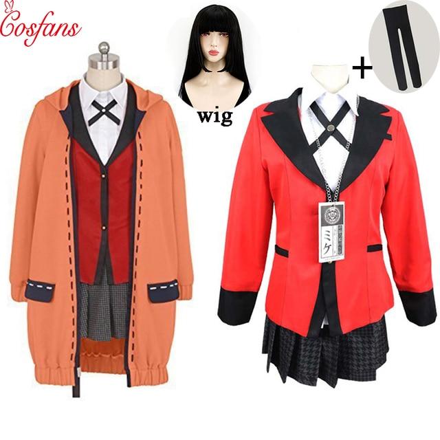Kakegurui jogador compulsivo runa yomozuki kakegurui cosplay traje runa yomozuki casaco jabami yumeko cosplay traje e peruca