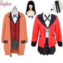 Kakegurui joueur compulsif Runa Yomozuki Kakegurui Cosplay déguisement Runa Yomozuki manteau Jabami Yumeko Cosplay déguisement et perruque