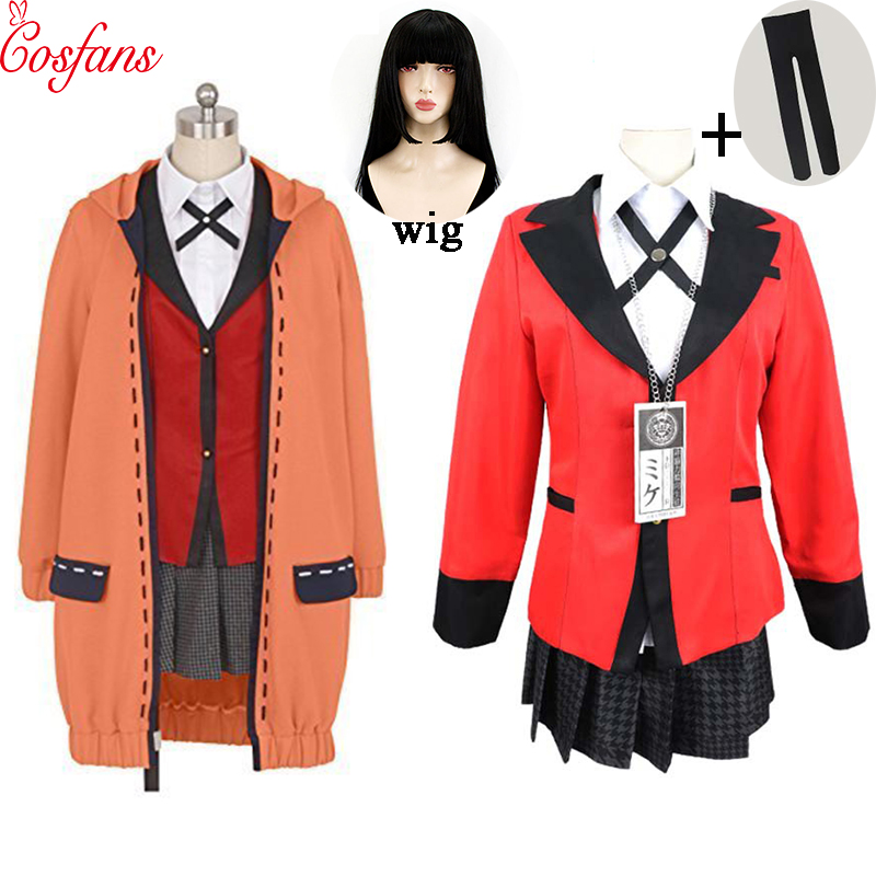 Kakegurui joueur compulsif Runa Yomozuki Kakegurui Costume Cosplay Runa Yomozuki manteau Jabami Yumeko Costume Cosplay et perruque