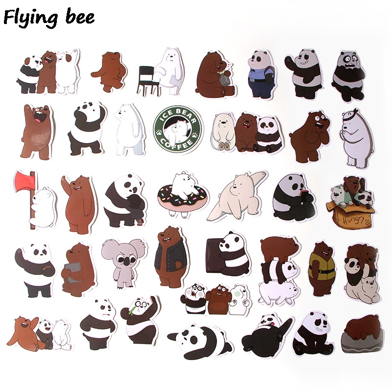 Image 2 - Flyingbee 37 Pcs We Bare Bears Graffiti Stickers for Kids DIY Luggage Laptop Skateboard Car Bicycle Waterproof Sticker X0293-in Stickers from Consumer Electronics