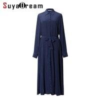 Women Silk Long Dress 23mm 100 Natural Silk Chiffon Belt Dress Solid Long Sleeve Dresses 2017