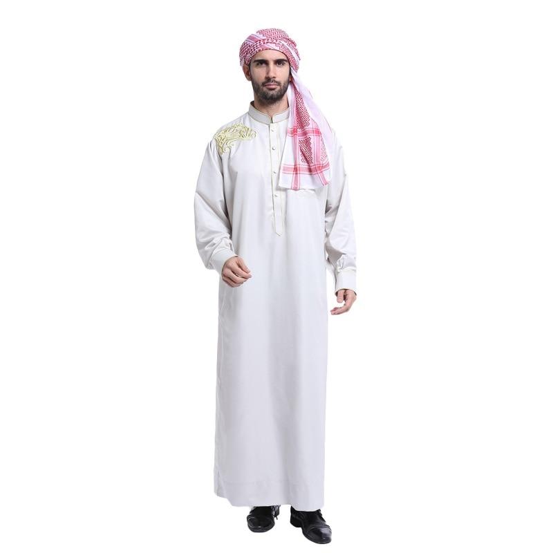 plus size Muslim Islamic Clothing for men Arabia Embroidery abaya dubai Men\'s Kaftan long sleeves Jubba clothing 2018