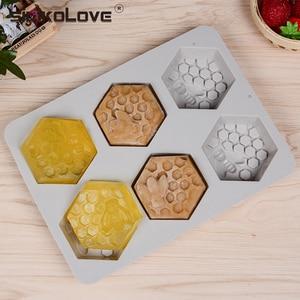 Image 1 - SILIKOLOVE סיליקון עובש Bee סבון עובש 6 חלל קל Demolding בעבודת יד סבון קרפט Diy סבון יצרנית לספק להתאמה אישית