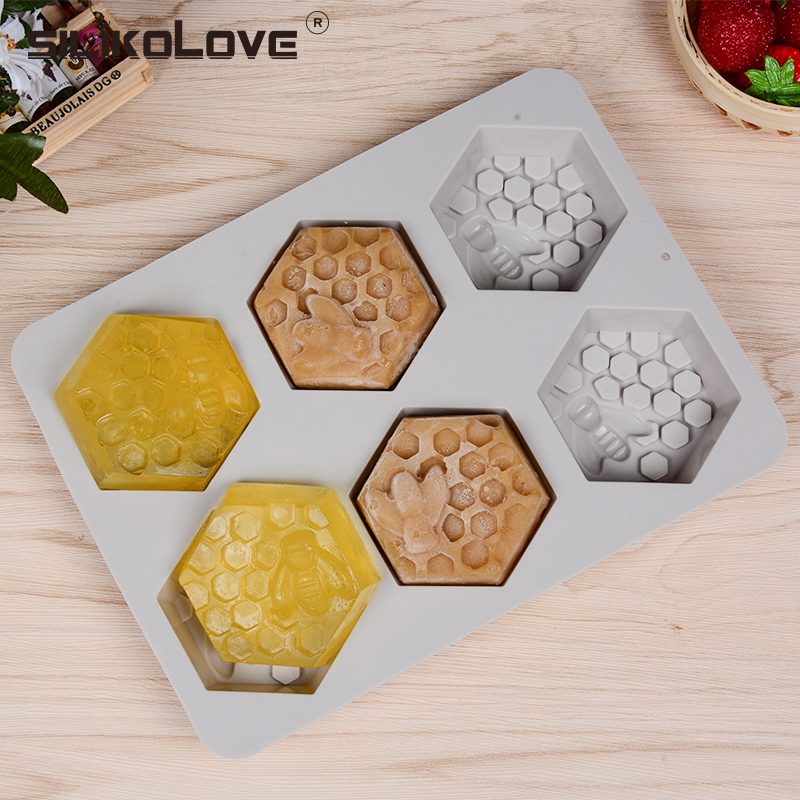 SILIKOLOVE Silicone Mold Bee Soap Mold 6 Cavity Easy To Demolding Handmade Soap Craft For Diy Soap Maker Provide Customizable