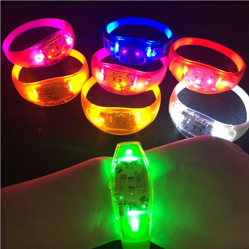 100/50 шт. фантазия долгое время вспышки кнопочный браслет Безопасный электронный светодиодный игрушечный браслет для вечерние Бар Ночной свет Для мужчин Для женщин