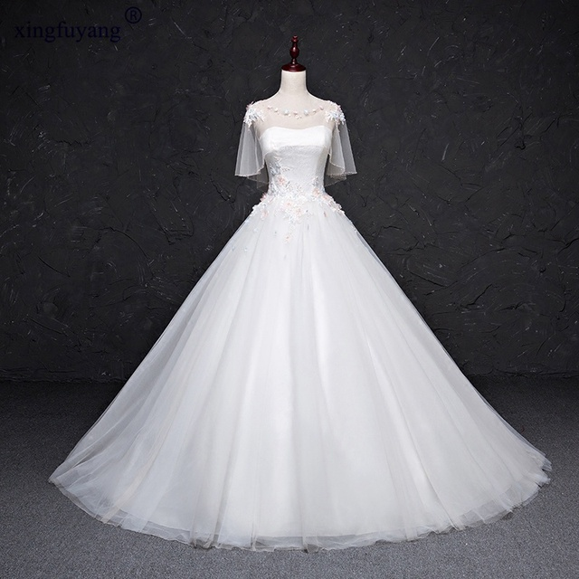 Vestidos De Novia Deep Lantern Sleeve White Wedding Dresses UK Lace ...