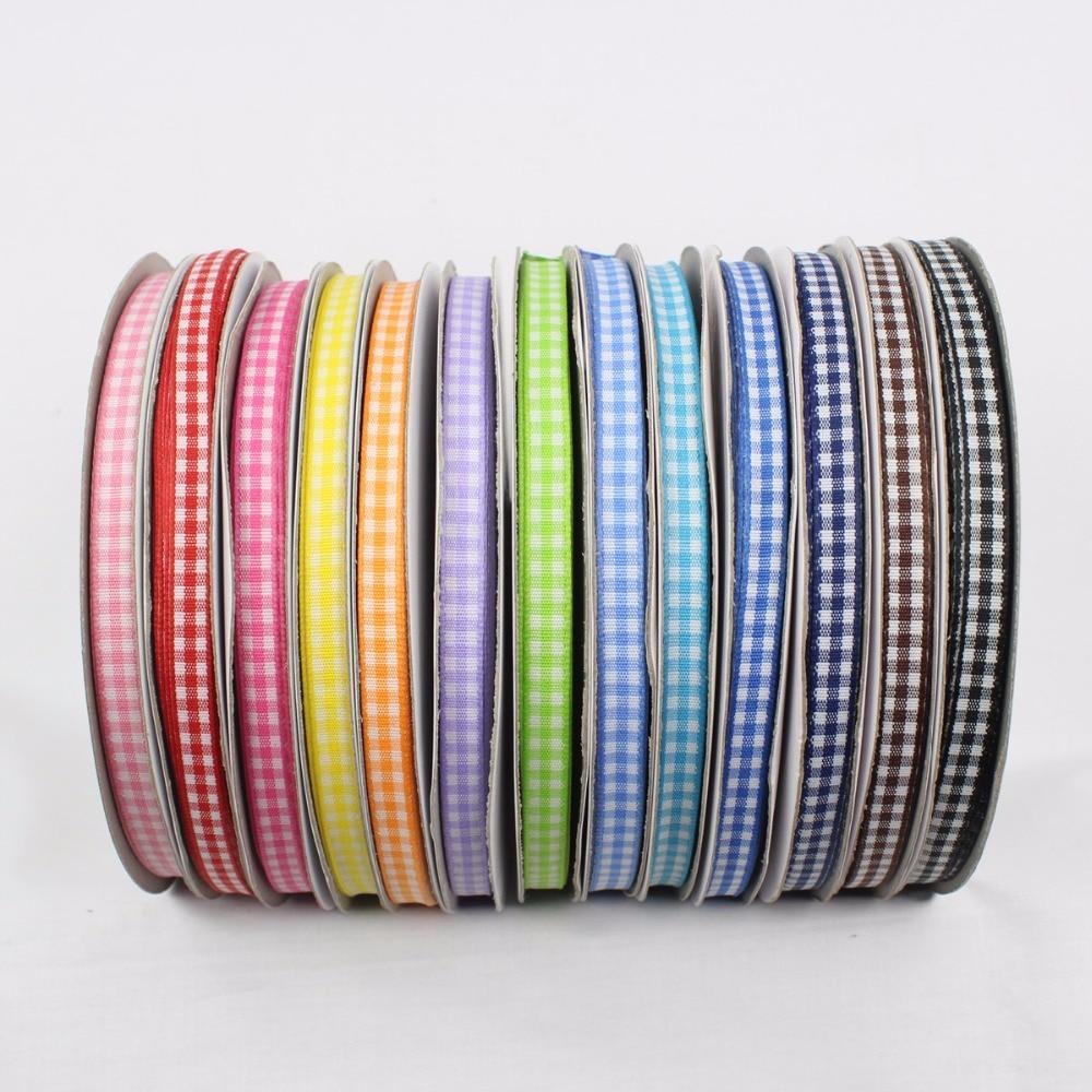 GZ6MM , Cotton Plaid Ribbon 6mm , 50 Yards , DIY Handmade Materials , Clothing Accessories Accessories Headdress