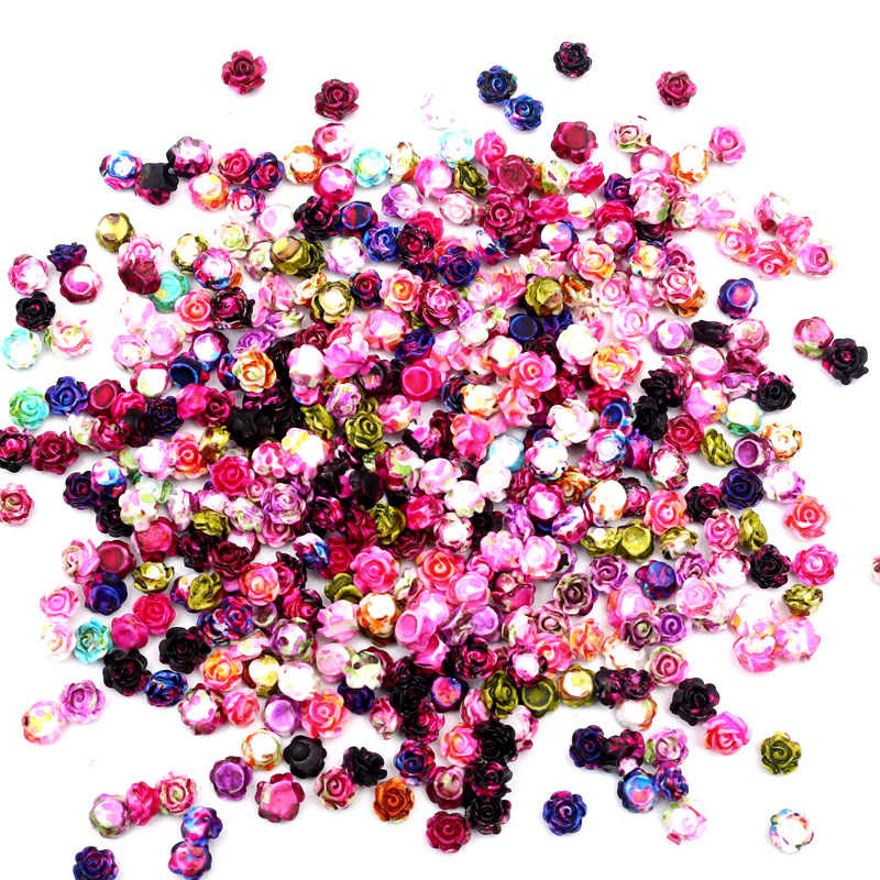 100Pcs Resin Flowers For Nail Art Rhinestones Decorations Crafts Flatback Cabochon Embellishments For Scrapbooking Accessories