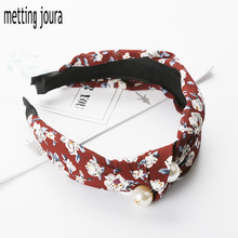 Metting Joura Bohemian Flower Chiffon Wrapped  Hairband Knotted With Pearl Headband Hairband Hair Accessories