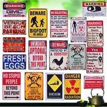 Beware & Tool Rules Notice Vintage Metal Plates Warning Danger or No Trespassing Retro Home Decor Wall Sticker Art Poster WY3