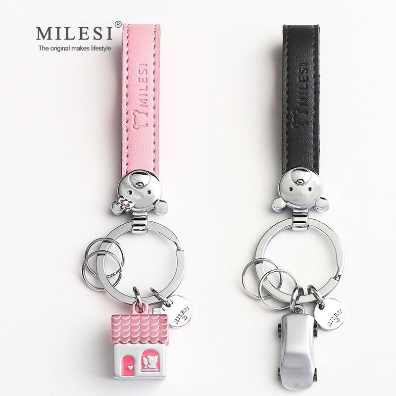 Milesi par av nyckelhållare hus bilformade par nyckelring prydnad kreativa nyckelring mode hänge gåva för älskare K0209_1